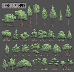 Tree concepts, Rob Smyth on ArtStation at https://www.artstation.com/artwork/Kd1oW