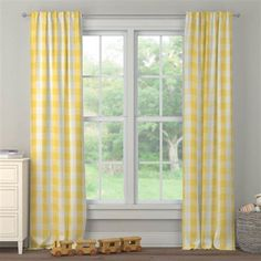 Custom drapes in Saffron Buffalo Check. Created using the Drape Designer by Carousel Designs Window Drapes, Window Panels, Yellow Nursery, Free Fabric Swatches, Carousel Designs, Custom Curtains, Drapery Panels, Cozy Living Rooms, Nursery Design