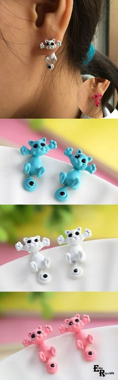 through your ear hanging cat earrings