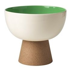 IKEA - TILLFÄLLE, Serving bowl with stand, The heat-resistant cork stand protects the table from scratching and functions as a pot stand when serving a hot meal.