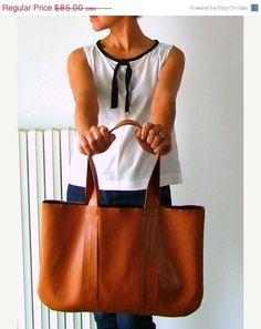 20% OFF... Handmade vegan leather handbag tanned