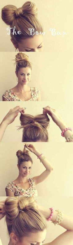 Cool and Easy DIY Hairstyles - The Hair Bow - Quick and Easy Ideas for Back to School Styles for Medium, Short and Long Hair - Fun Tips and Best Step by Step Tutorials for Teens, Prom, Weddings, Special Occasions and Work. Up dos, Braids, Top Knots and Buns, Super Summer Looks http://diyprojectsforteens.com/diy-cool-easy-hairstyles