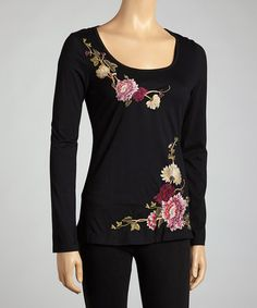 Take a look at this Black Ivy & Floral Long-Sleeve Top by Bella Carra on #zulily today!