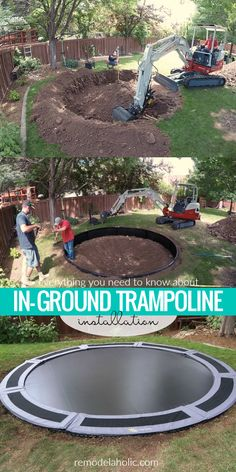 Everything you need to know about in-ground trampoline installation. How big does the trampoline hole need to be? What trampoline is best for installing in-ground? Read our tips and see what a professional in-ground trampoline install looks like. #Remodelaholic
