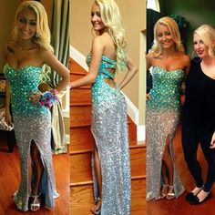 Aqua & Silver Beaded Long Strapless Sweetheart Neckline Dress W/ Cut Out Back & Slit.