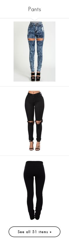 """Pants"" by its-me-maddie ❤ liked on Polyvore featuring jeans, pants, bottoms, high waisted jeans, high waisted ripped skinny jeans, blue ripped skinny jeans, dark blue skinny jeans, high waisted ripped jeans, black and leggings"