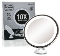 Special offers elfina lighted magnifying mirror 10x magnifying daylight led 10x magnifying makeup mirror lighted travel vanity mirror di aloadofball Image collections