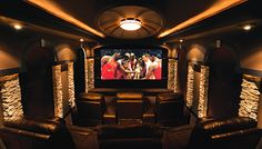 movie theater rooms in homes | Rustic, Mountain Style Home Theater Designs