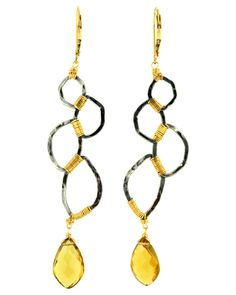 You will LOVE this stunning pair of earring! Interesting in shape, detail, colors and stones. A piece of art for your ears! Handmade in Los Angeles.  Dana Kellin Quartz and Gold Geometric Drop Earrings