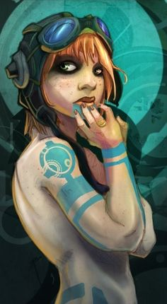 Future-Fantasy Redheaded Girl With Goggled Headgear And Teal-Colored Tech Tattoos