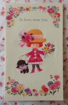 Vintage 1970s UNUSED Get Well Card Little Girl in Pink Coat & Straw Hat, Poodle