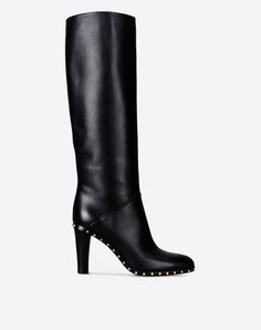 Studs Inner zip closure Leather sole Round toeline Covered heel  Women 11065753XQ