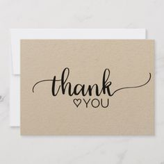 Rustic Kraft Calligraphy Thank You Thank You Font, Calligraphy Thank You, Thank You Card Design, Calligraphy Cards, Thank You Messages, Calligraphy Birthday Card, Thank You Notes, Cute Cards, Diy Cards
