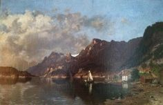 An oil on Canvas, Fjord Scene, by Morten Muller (1828-1911). Available for purchase at http://treasuredestates.com/showroom/product/133-oil-on-canvas-by-morten-muller-53