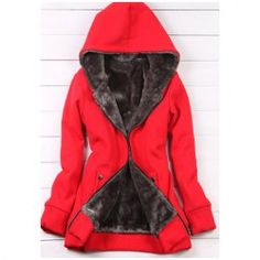 Casual Hooded Solid Color Long Sleeves Fleece Thicken Good Quality Cotton Blend Hoodie Coat For Women