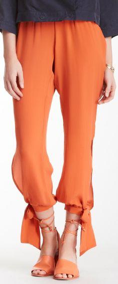 Coral tie trousers