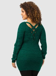 Crisscross Back Knit Sweater Plus Size #UNIQUE_WOMENS_FASHION