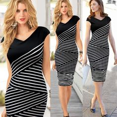 Dress Knee Length Strechy Striped Zebra Summer Party Casual Dresses For Ladies