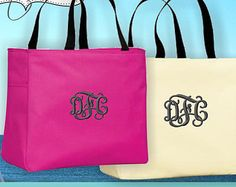 8 Monogrammed Essential Tote Bags Personalized Wedding Tote, Bride Bridesmaid Gifts, Embroidered tote bag, Essential tote bag lots of colors