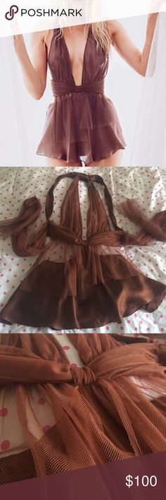 Designer collection babydoll Stunning rare babydoll, never worn, includes matching lace thong, tulle ties in the back Victoria's Secret Intimates & Sleepwear