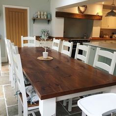 Great Screen oak Farmhouse Table Suggestions Creating a farmhouse table is just a fairly straightforward project that even a novice can handle. Ladder Back Dining Chairs, Table Settings, Farmhouse Table Setting, Table, Farmhouse Table Plans, Building A Kitchen, Rustic Dining Table, Table Dimensions, Farmhouse Table