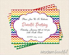 Printable Custom Party Invitations Personalized by ModernBeautiful, $12.00
