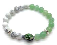 Sea Turtle Bracelet with Hand Painted Ceramic Sea Turtle with Green Aventurine and Howlite Gemstone Beads for a beautiful Sea Turtle gift