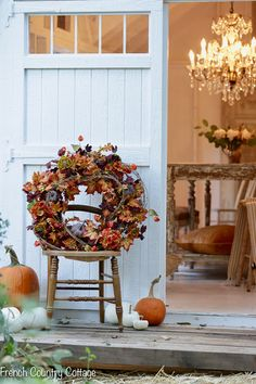 Ideas For Decorating Your Porch For Autumn French Country Cottage Fall Porch Decorating Ideas With Charming Wreaths, Pumpkins, And Vintage Furniture. English Country Decor, French Country Cottage, French Country Decorating, Country Homes, Autumn Decorating, Porch Decorating, Fall Home Decor, Autumn Home, Autumn Fall