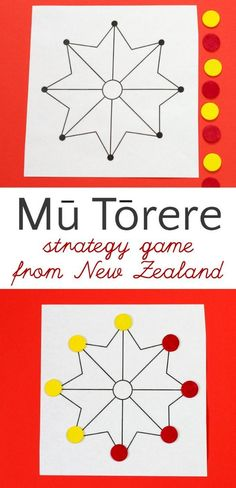 How to play Mu Torere, a board game for kids from the Maori people of New Zealand. A fun brain-boosting abstract strategy game. If you can play Tic Tac Toe, you can play this. Get the instructions in the post. - Kids education and learning acts Logic Games For Kids, Kids Games For Girls, Games For Kids Classroom, Fun Math Games, Board Games For Kids, Games To Play, Dice Games, Family Game Night, New Zealand