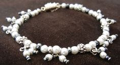 Pearl and hematite beaded dangle bracelet with magnetic clasp and guard