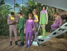 """The """"Robinson family"""" and """"Major Don West"""".  As depicted in the 1960's TV series, LOST IN SPACE.  From the episode entitled """"The Great Vegetable Rebellion""""."""