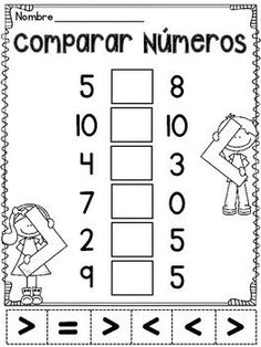 Comparar Numeros: Mayor que, menor que, o igual - 11 Comparing Numbers cutting and pasting worksheets IN SPANISH (Espanol) for practicing greater than, less than, or equal to 1st Grade Worksheets, Kindergarten Math Worksheets, School Worksheets, 1st Grade Math, Teaching Math, First Grade, Math Activities, Grade 1, Math For Kids