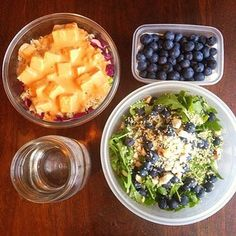 Food to go #vegan style. Baby arugula salad with blueberries, hulled hemp seeds, brazil nuts with olive oil, blueberries to snack, and a brown rice bowl with chopped red cabbage, carrot, sugar snap peas, marinated tofu and peanut ginger sauce on top. Fuel for an 11 hr shift  #whatveganseat #tgif #healthyfoodwin