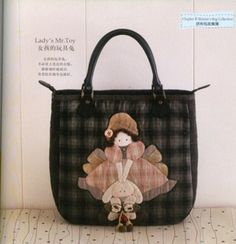 Girl holding bunny part 1 parts) Patchwork Designs, Patchwork Bags, Quilted Bag, Quilting Tutorials, Quilting Projects, Sewing Projects, Japanese Patchwork, Japanese Bag, My Bags