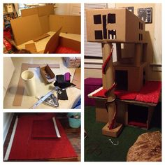 Cardboard boxes, tubes, a razor blade, and hot glue. (And really cool turf feeling stuff) Matt and I spend all yesterday making the kitties a fun new house/tree. diy cat tree. Cat house. cat stuff. kitten stuff. Do it yourself.  Creative cat home for the kittens.