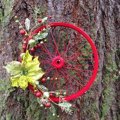 Just Jenn Home Arts Bicycle Wheel Wreath; Just Jenn Home Arts Bicycle Rims, Bicycle Art, Bicycle Wheel Decor, Bike Wheels, Wreath Crafts, Diy Wreath, Christmas Wreaths, Christmas Crafts, Christmas Decorations