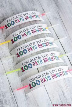 100 Days of School Glow Bracelet with Free Printable - seven thirty three