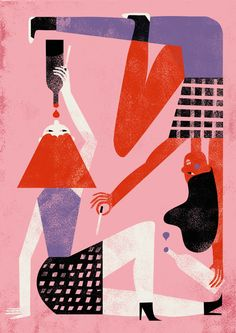 Liking the colours and shapes on this Nanna Prieler illustration - THE PARTY GIRLS FROM LAST NIGHT
