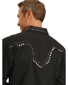 Scully Studded Black Retro Western Shirt | Sheplers