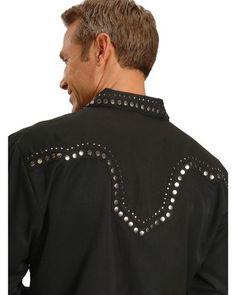 Scully Studded Black Retro Western Shirt   Sheplers