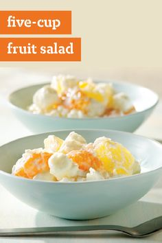 Five-Cup Fruit Salad – A cup each of 5 fabulous ingredients—pineapple, mandarin oranges, sour cream, coconut, and marshmallows—adds up to one delicious and potluck-ready fruit salad recipe.