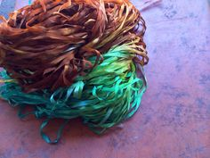Copper Patina Mulberry 4mm silk ribbon