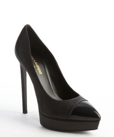 Saint Laurent : black glitter leather cap toe platform pumps
