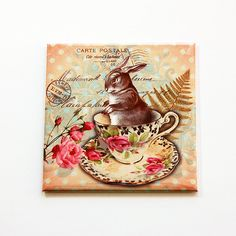 Easter Bunny Magnet, Easter Bunny, Magnet, Fridge magnet, Easter, Victorian Style, Easter Rabbit, Easter gift, Easter basket gift (5471) by KellysMagnets on Etsy