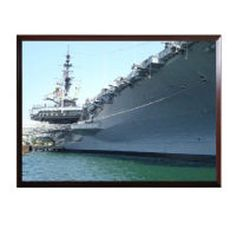 You will be impressed with how detailed and vibrant this High Definition framed photo of the USS Midway is. These ready to mount photo plaques are 100% Made in the USA, are 9x12 inches in size and come with either a black or cherry wood finish.  The image itself is high definition, scratch resistant, can be cleaned with abrasive cleaners & will last well over a 100 years as long as it is not stored in direct sunlight.