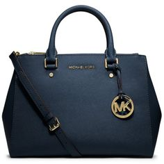 78ec8f1b80140c Ms. Michael Kors MK Michael Kors shoulder bag blue calf leather cross  pattern 30S4GTVS6L NAVY
