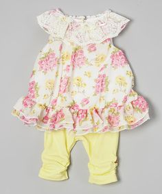 Look at this #zulilyfind! Light Yellow Floral Tunic & Leggings - Infant by Nannette Baby #zulilyfinds