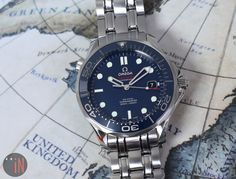 """""""It's A Cartographers World!"""" #Omega 41mm Seamaster Diver 300 M Co-Axial Ref#: 212.30.41.20.03.001 ($3,425.00 USD) http://www.elementintime.com/Omega-Seamaster-Diver-300M-CoAxial-212.30.41.20.03.001-Stainless-Steel-Blue-Dial"""