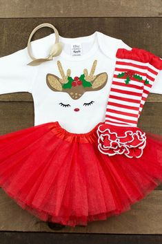 Super Cute Little Girl Christmas Outfit #ad #tutu