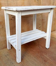upcycled rustic white small table side table or by RosesUpcycled, $40.00